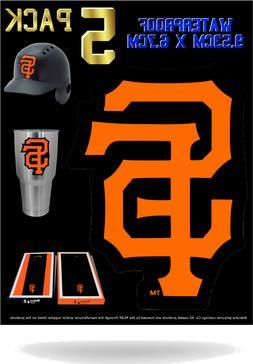 "5 SF San Francisco Giants Vinyl Decal Sticker 3"" x 4"" Car Wi"