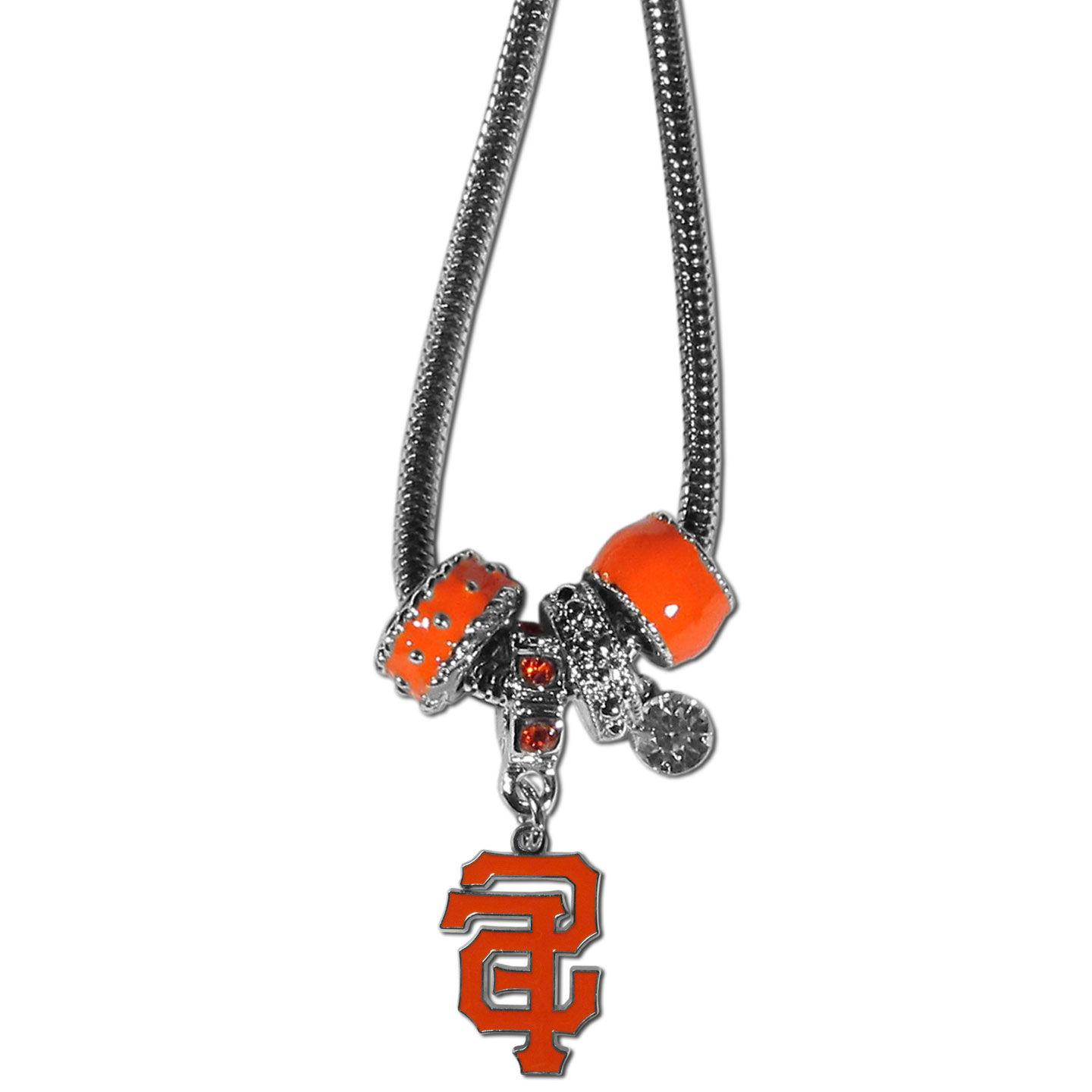 San Francisco Giants Snake Chain Necklace with Euro Beads ML