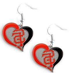 MLB San Francisco Giants Swirl Heart Earring Dangle Logo Cha