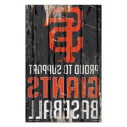 """San Francisco Giants 11""""x17"""" Proud to Support Wood Sign  MLB"""