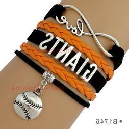 San Francisco Giants Leather Bracelet Baseball Charm Quality