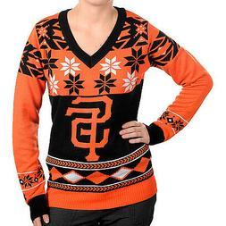 San Francisco Giants Big Logo V-Neck Women's Sweater By Klew