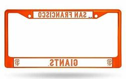 San Francisco Giants ORANGE Chrome Frame Metal License Plate