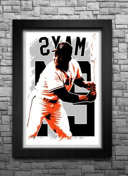 WILLIE MAYS art print/poster SAN FRANCISCO GIANTS FREE S&H!